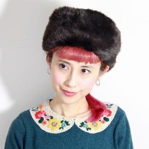 バラ色の帽子 ファー Barairo no ロシアン Barairo no Boushi  秋冬 ロシア帽 エコファー 送料無料 日本製 レディース 帽子 可愛い こげ茶 elehelm-hatstore