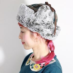 飛行帽 送料無料 チェック フライトキャップ 日本製 ファー 帽子 レディース 秋冬  Barairo no Boushi バラ色の帽子 Barairoの飛行帽 グリーン elehelm-hatstore