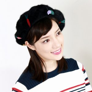ベレー帽 アンゴラ バラ色の帽子 やさいのアンゴラベレー 秋冬 ベレー 高級素材 日本製 Barairo no Boushi 野菜 モチーフ 帽子 クロ ブラック elehelm-hatstore