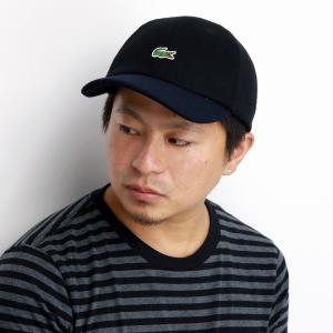 キャップ LACOSTE 秋冬 メルトン 2トーンキャップ ラコステ 17AW メンズ 帽子 レディース サイズ調整 日本製 6方キャップ 上品 黒 ブラック elehelm-hatstore