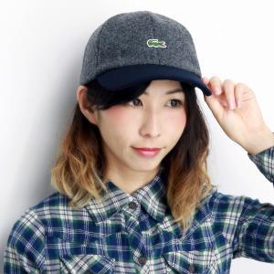 秋冬 ラコステ 2トーンキャップ LACOSTE 17AW メルトン キャップ メンズ 帽子 日本製 レディース サイズ調整 6方キャップ 上品 チャコールグレー elehelm-hatstore