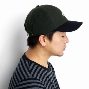 ラコステ 秋冬 メルトン バイカラー 6方キャップ LACOSTE 17AW メンズ キャップ レディース 帽子 日本製 サイズ調整 上品 緑 カーキ elehelm-hatstore