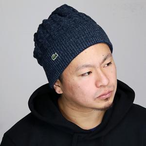 ラコステ メンズ レディース ニット帽 日本製 ウール スキー スノボ 防寒 LACOSTE 秋冬 帽子 ニット ワッチ スポーツ ネイビー 紺|elehelm-hatstore