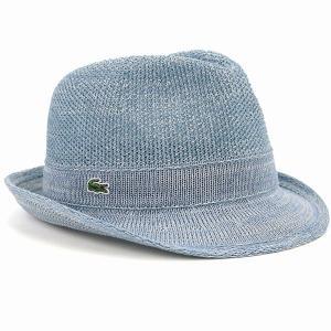 LACOSTE 中折れ ハット サーモニットマニッシュ 春夏 中折れ帽 メンズ レディース サイズ調節可 ラコステ 帽子 青 インディゴブルー elehelm-hatstore