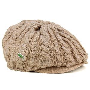 ニットハンチング 丸いシルエット 帽子 メンズ ラコステ 秋冬 ピッタリフィット ベージュ|elehelm-hatstore