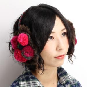 イヤーマフラー レディース ぼうし バラ色の帽子 ボンボンイヤーマフ15 耳あて 帽子 barairo no boushi ハンドメイド 赤系 レッド|elehelm-hatstore