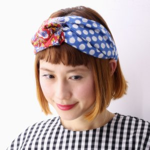 barairo no boushi レディース ターバン バラ色の帽子 17SS インド染コットンヘアバンド 日本製 ヘッドアクセ ドット柄 ハンドメイド/ブルードット ブルー|elehelm-hatstore