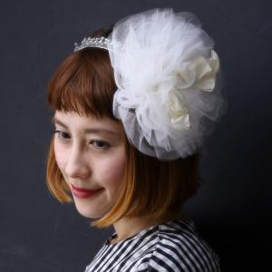 バラ色の帽子 17SS チュールリボンカチューシャ 日本製 ヘッドドレス フェミニン 春夏 barairo no boushi レディース ハンドメイド/シロ ホワイト|elehelm-hatstore