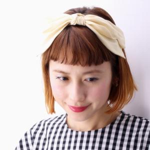 バラ色の帽子 17SS クラシカルシルクカチューシャ 日本製 ヘッドアクセ リボン 春夏 barairo no boushi レディース ハンドメイド/生成 クリーム|elehelm-hatstore