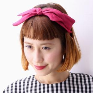 17SS クラシカルシルクカチューシャ 日本製 barairo no boushi カチューシャ レディース バラ色の帽子 リボン 春夏 ハンドメイド/あせ赤 ピンク|elehelm-hatstore