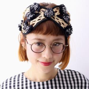 17SS barairo no boushi ハチの巣ブレード ヘッドアクセ バラ色の帽子 日本製 レディース カチューシャ ハンドメイド/クロ ブラック|elehelm-hatstore
