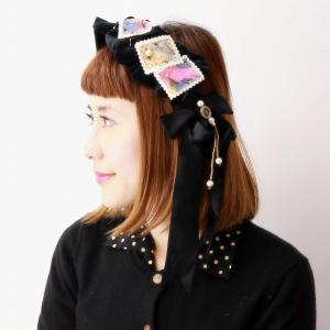 ヘッドドレス 日本製 別珍スタンプカチューシャ バラ色の帽子 かわいい カチューシャ ガーリー 秋冬 送料無料 Barairo no boushi クロ ブラック|elehelm-hatstore