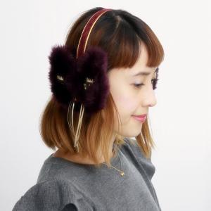 耳あて 日本製 暖かい バラ色の帽子 ミミンヌイヤーマフ 可愛い ファー ネコ イヤマフ 送料無料 猫モチーフ Barairo no Boushi パープル|elehelm-hatstore