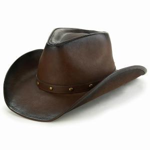 フェイクレザー テンガロン ハット オールシーズン UV加工 LTC カウボーイハット KennyK ウエスタンハット ケニーK つば広 メンズ レディース 帽子 茶/ブラウン elehelm-hatstore
