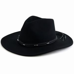 フェルト 帽子 ウエスタンハット 秋冬 ウール100% カウボーイ ハット メンズ KennyK クラシカル 中折れ ワイドブリム レディース シンプル LTC 黒/ブラック|elehelm-hatstore