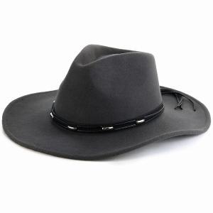 ウール100% フェルト カウボーイ ハット 秋冬 帽子 メンズ KennyK ウエスタンハット 中折れ ワイドブリム レディース シック LTC チャコール/グレー|elehelm-hatstore