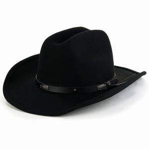 ウエスタンハット フェルト 帽子 秋冬 ウール100% テンガロン ハット メンズ 大きいサイズ KennyK クラシカル ホンブルグ レディース シンプル LTC 黒/ブラック elehelm-hatstore