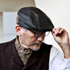 DORFMAN PACIFIC フェイクレザー ハンチング 秋 冬 シボ柄 防寒 メンズ レディース シワ加工 DPC 帽子 黒 ブラック|elehelm-hatstore
