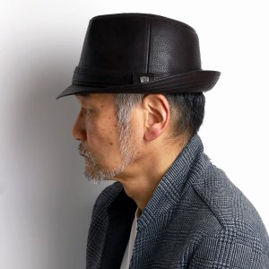 帽子 ハット フェイクレザー メンズ ドーフマンパシフィック 合成皮革 茶 ブラウン|elehelm-hatstore