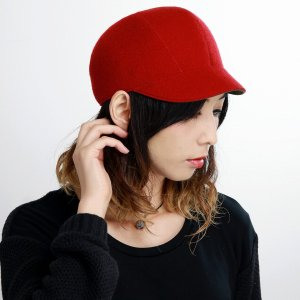 Mazurek リバーシブル キャップ レディース メンズ 秋冬 ウール 起毛 CAP 日本製 帽子 マズルカ  レッド|elehelm-hatstore