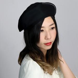 春夏 オックス ベレー帽 レディース マズルカ 日本製 帽子 メンズ mazurek ベレー シンプル/黒 ブラック elehelm-hatstore