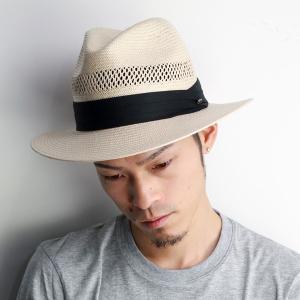 ハット 春夏 メンズ ペーパーパナマ 中折れハット scala hat レース編み フラットブリム ストローハット ナチュラル elehelm-hatstore