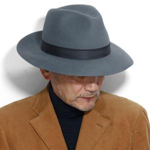 中折れハット メンズ マイザー ラビットファーフェルト 秋冬 ワイドブリム ビーバーファーフェルト MAYSER ハット 帽子/グレー|elehelm-hatstore