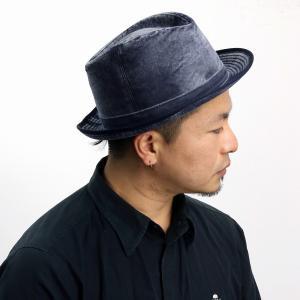 秋冬 大きいサイズ メンズ MAYSER ハット 帽子 メンズ 中折れハット メンズ マイザー ベルベット 生地 ハット レディース/紺 ネイビー|elehelm-hatstore