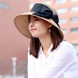 春夏 レディースハット 麦わら帽子 女優帽 レディースファッション レディース 婦人 帽子 つば広 UVカット サイズ調整可能 ダウンブリム 日本製 ベージュ|elehelm-hatstore