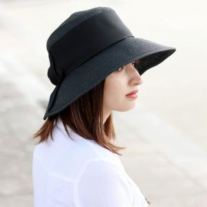 レディースハット 春夏 麦わら帽子 女優帽 レディースファッション レディース 婦人 帽子 つば広 UVカット サイズ調整可能 ダウンブリム 日本製 黒 ブラック|elehelm-hatstore