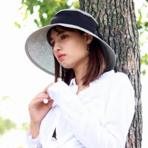 レディースハット 麦わら帽子 春夏 女優帽 レディースファッション レディース 婦人 帽子 つば広 UVカット サイズ調整可能 ダウンブリム 日本製 グレー|elehelm-hatstore