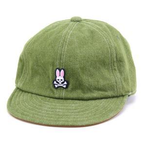 サイコバニー 牛革 起毛デニム Psycho Bunny メンズ 6方キャップ オールシーズン サイズ調節付き/カーキ|elehelm-hatstore