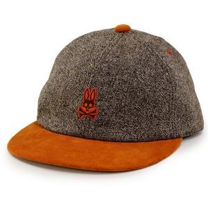 Psycho Bunny メンズ 秋冬 キャップ サイコバニー レディース ツイード サイズ調節付き 茶|elehelm-hatstore