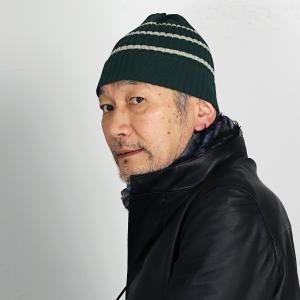 ボーダーニット 秋冬 Psycho Bunny ビーニー帽 ニット帽 メンズ レディース 帽子 ニット ニットワッチ サイコバニー/緑 グリーン|elehelm-hatstore