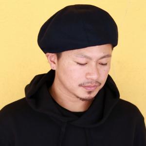 8パネル 秋冬 ウール ベレー帽 ブランド ゴムアジャスター付 帽子 racal  日本製 ベレー メンズ/黒 ブラック|elehelm-hatstore