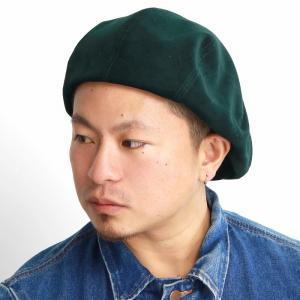 秋冬 日本製 ブランド 光沢 ベレー帽 メンズ キャスケット 帽子 racal 2way キャス 8パネル/緑 グリーン|elehelm-hatstore