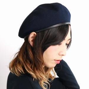 パイピングベレー帽 ブランド フェイクレザー アーミーベレー ベレー帽 秋冬 帽子 racal  日本製 ベレー メンズ/紺 ネイビー|elehelm-hatstore