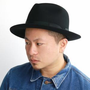 アンテロープ 中折れハット メンズ 秋冬 センタークリースハット 帽子 ウール ラカル racal/黒 ブラック|elehelm-hatstore
