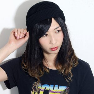 ラカル ロールキャップ ニット帽 メンズ サマーニット帽 SK8 春夏 ニットキャップ cap フィッシャーマンキャップ 帽子 レディース 日本製 racal/黒 ブラック|elehelm-hatstore