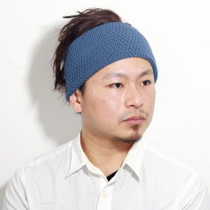 ニット素材 ヘアーバンド racal ヘアバンド メンズ 日本製 レディース ニット 帽子 ニット ポップコーン編み 麻 春夏 大人/デニム|elehelm-hatstore