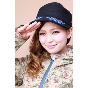 キャップ レディース 帽子 秋冬 レディースファッション メルトンキャップ 刺繍入り ネイビー|elehelm-hatstore