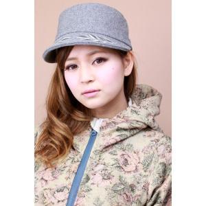 帽子 レディース キャップ 刺繍入り 秋冬 ウール素材 グレー|elehelm-hatstore