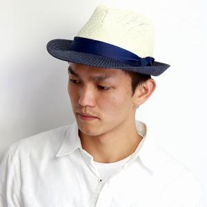 麦わら帽子 ツートンカラーで個性的 春夏ファッション 中折れハット ペーパーブレード 帽子 UV 男女兼用 紺 ネイビー|elehelm-hatstore