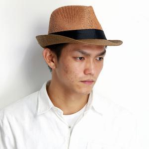 ストローハット 中折れハット シックなツートーンカラー 帽子 RUBEN メンズ レディース サイズ調節付き ブラウン|elehelm-hatstore