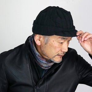ニットキャスケット オスロ ニットキャップ つば付き シンプルライフ ニット帽 メンズ 帽子 レディース 冬 日本製 プレゼント SIMPLE LIFE/黒 ブラック|elehelm-hatstore