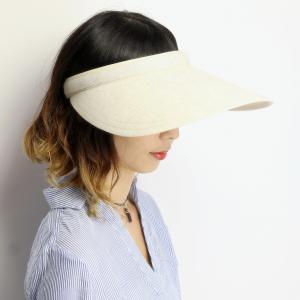 サンバイザー レディース 紫外線対策 UV対策 シンプルライフ ブランド 帽子 Simple life リネン 日よけ対策 ツバ広 クリップバイザー 送料無料 ベージュ|elehelm-hatstore