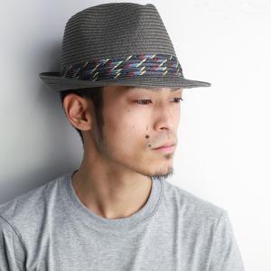 ストローハット メンズ 夏 ペーパーブレード CARLOS SANTANA 中折れ ハット カルロス・サンタナ 帽子 MEMENTO グレー|elehelm-hatstore