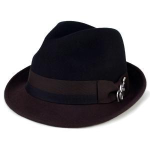 フェルト ハット 帽子 メンズ カルロス サンタナ 2トーン ショートブリム フェドラ ギターバッジ 中折れ ブラック ブラウン|elehelm-hatstore