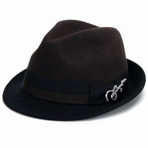 帽子 メンズ フェルト ハット カルロス サンタナ 2トーン ショートブリム フェドラ ギターバッジ 中折れ ブラウン ブラック|elehelm-hatstore