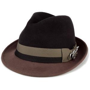 フェルト ハット 帽子 メンズ カルロス サンタナ 2トーン ショートブリム フェドラ ギターバッジ 中折れ ブラウン トープ|elehelm-hatstore